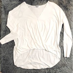 Double Zero V-neck Twist Front Long Sleeve Blouse